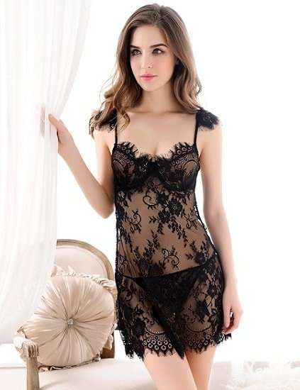Buy Sexy & Floral Lace Babydoll Sleepwear Lingerie in India