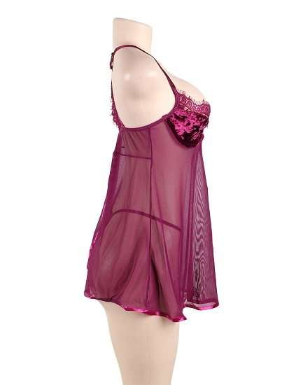 16a894b602 Featuring Velvet Underwire Cups With A Scalloped Lace Trim Babydoll ...