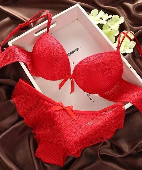 Buy Red Bra Panty Set Online in India