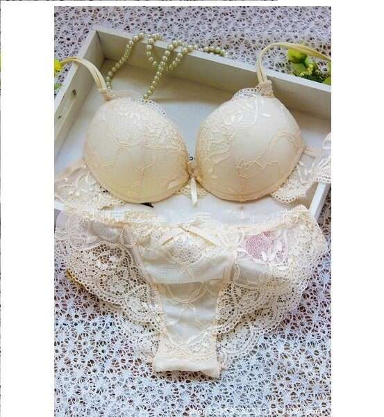 Buy Sexy Lacy Love Bridal Beige Bra Panty Sets Online in India